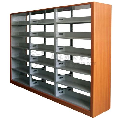 木护板双柱双面书架